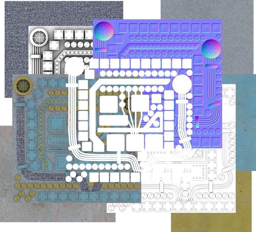 Paneel met onderdelen - motormachines royalty-free 3d model - Preview no. 6