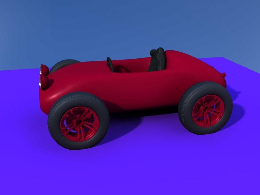 Toy car retro racer royalty-free 3d model - Preview no. 7