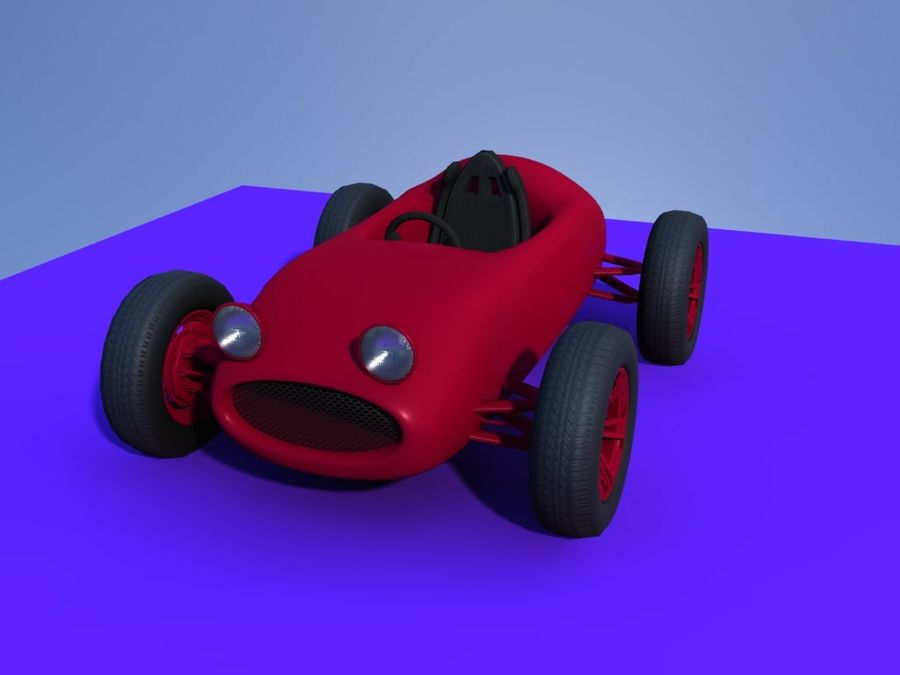 Toy car retro racer royalty-free 3d model - Preview no. 6