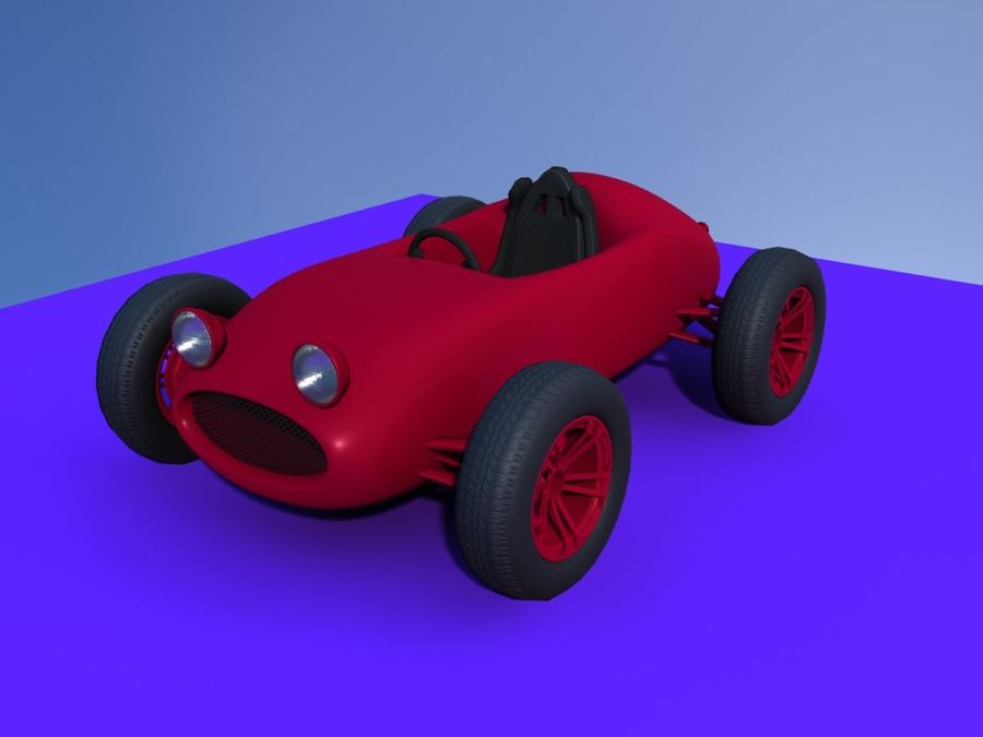 Toy car retro racer royalty-free 3d model - Preview no. 8