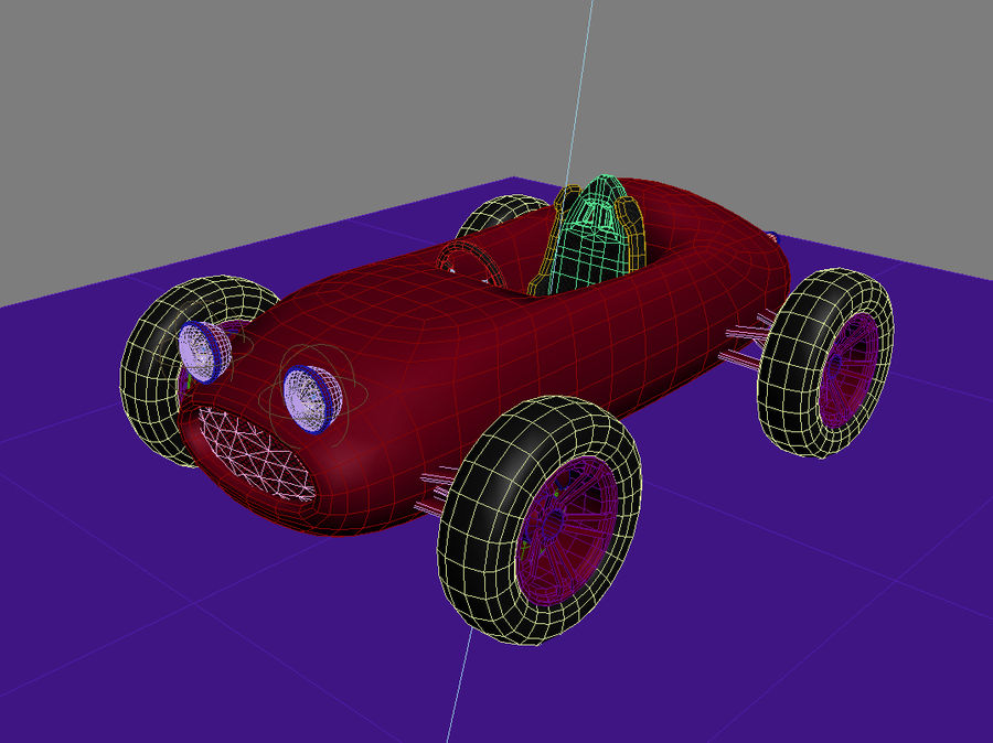 Toy car retro racer royalty-free 3d model - Preview no. 2