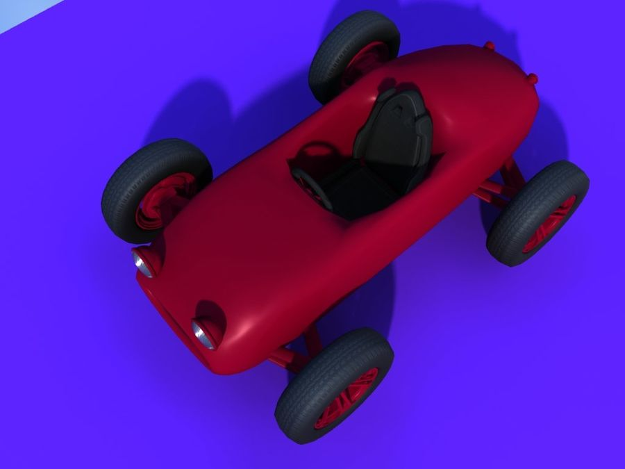 Toy car retro racer royalty-free 3d model - Preview no. 5