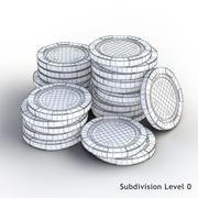 Stacked Poker Chips 3d model