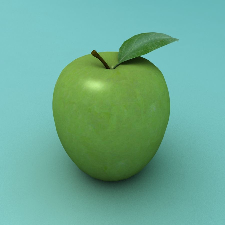 Зеленое яблоко готово к игре royalty-free 3d model - Preview no. 3