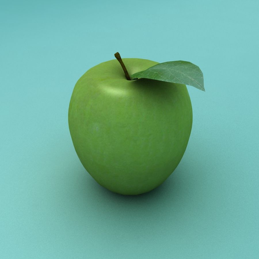 Зеленое яблоко готово к игре royalty-free 3d model - Preview no. 4