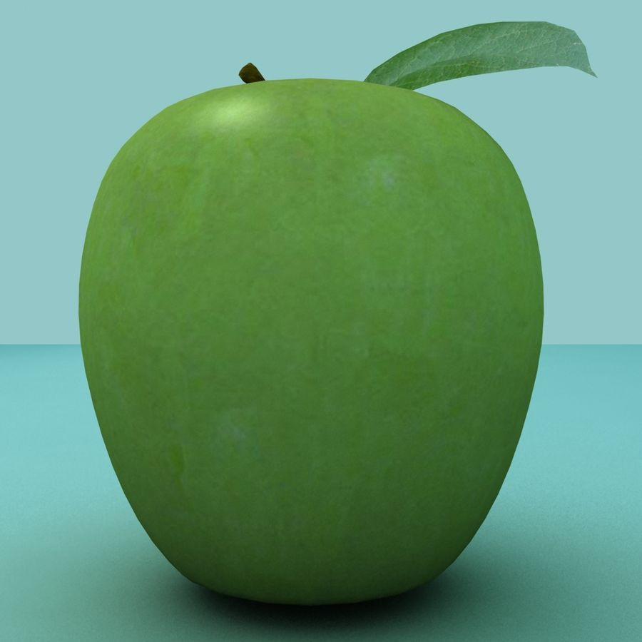 Зеленое яблоко готово к игре royalty-free 3d model - Preview no. 6
