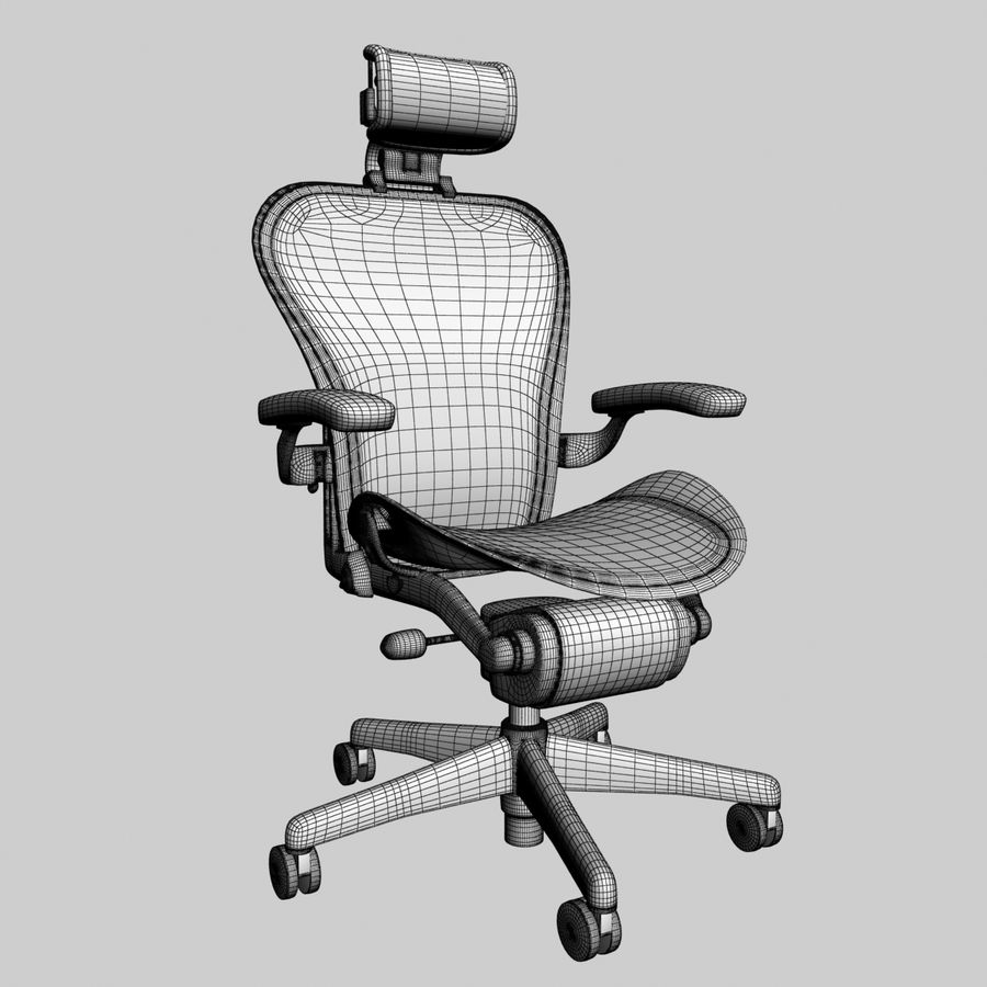 herman miller aeron bureaustoel royalty-free 3d model - Preview no. 6