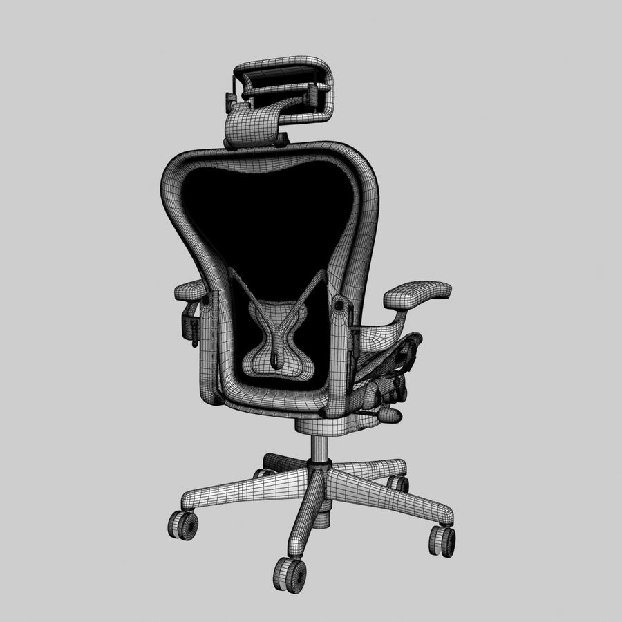 herman miller aeron bureaustoel royalty-free 3d model - Preview no. 7