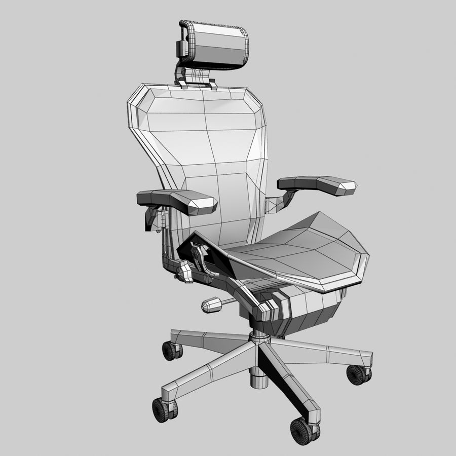 cadeira de escritório herman miller aeron royalty-free 3d model - Preview no. 4