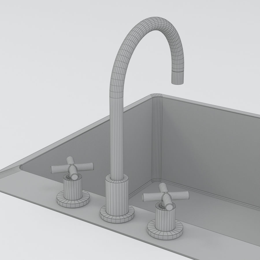 Robinet et évier royalty-free 3d model - Preview no. 4