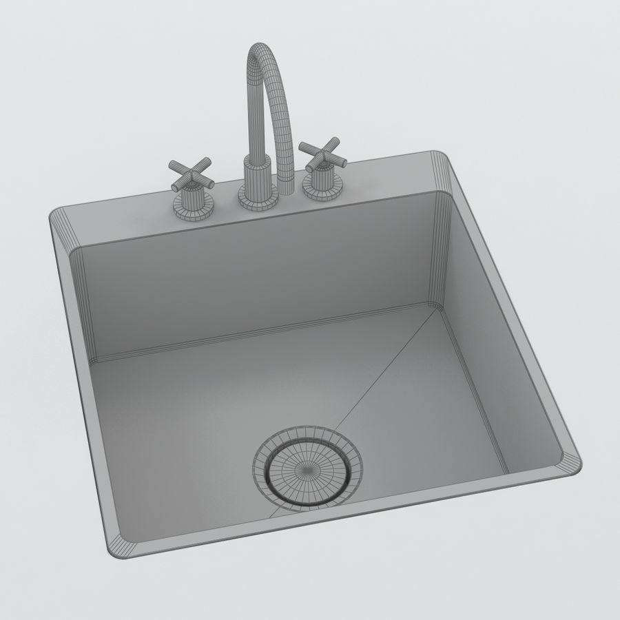 Robinet et évier royalty-free 3d model - Preview no. 5