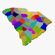 County Map - South Carolina 3d model