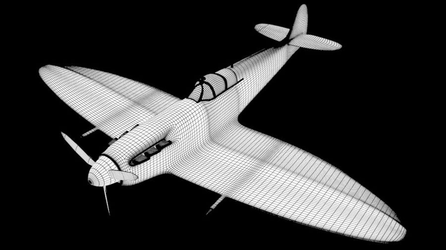 SPITFIRE MKII royalty-free 3d model - Preview no. 3