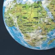 Jordtexturvärldskartajordklot med månen 3d model