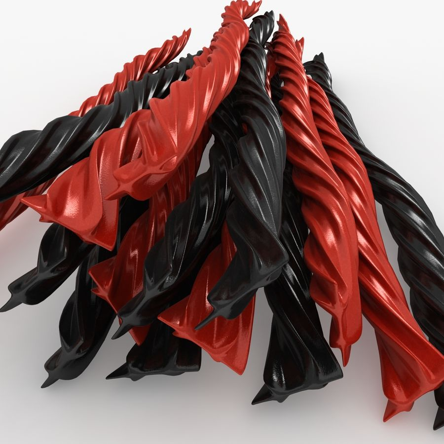 Licorice Candy Twists royalty-free 3d model - Preview no. 10