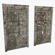 Porta in legno con foro di proiettile danneggiato 3d model