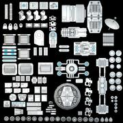 Science fiction Części mechaniczne 3d model