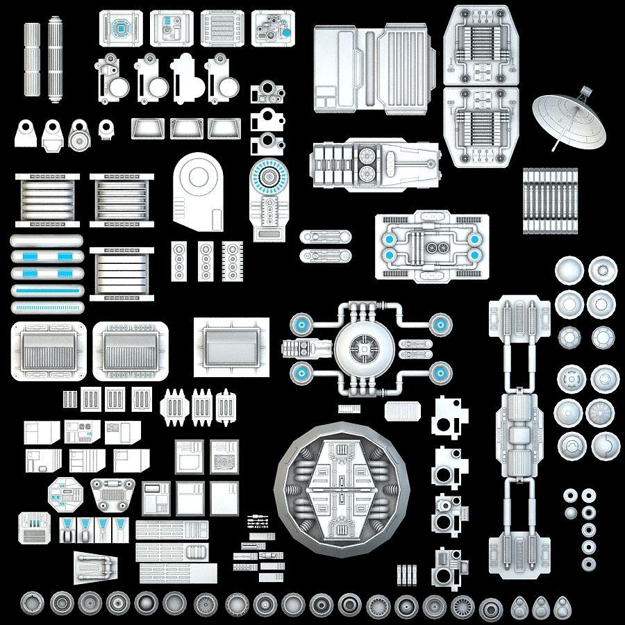 科幻小说机械零件 royalty-free 3d model - Preview no. 1