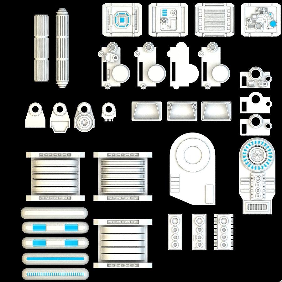 科幻小说机械零件 royalty-free 3d model - Preview no. 5