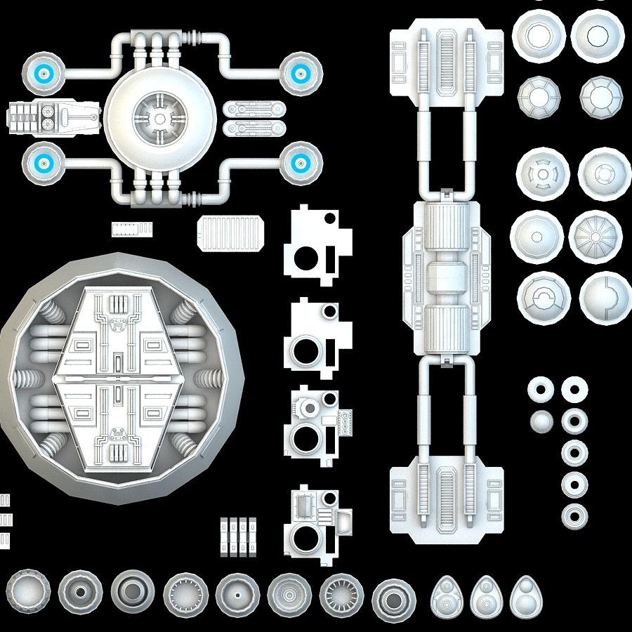科幻小说机械零件 royalty-free 3d model - Preview no. 7