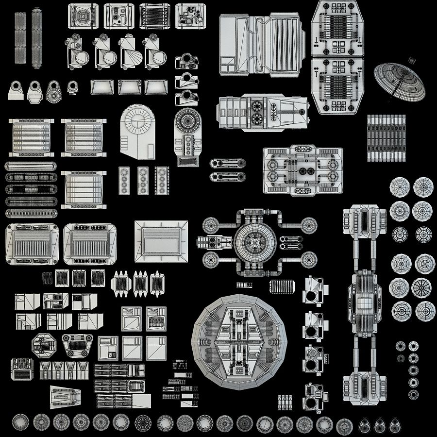 科幻小说机械零件 royalty-free 3d model - Preview no. 2