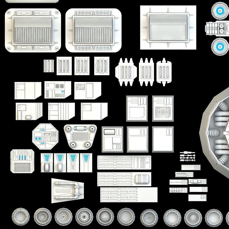 科幻小说机械零件 royalty-free 3d model - Preview no. 6