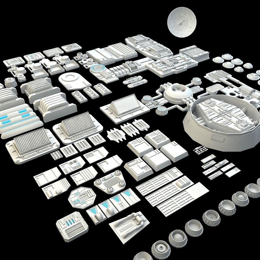 科幻小说机械零件 royalty-free 3d model - Preview no. 3