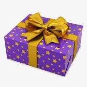 Gift Box rectangle purple 3d model