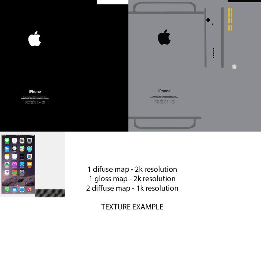 Apple iPhone 6 및 Apple iPhone 6 Plus royalty-free 3d model - Preview no. 17