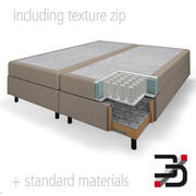 Boxspring bed cut out 3d model