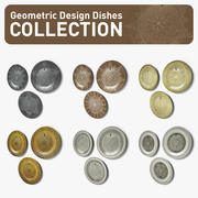 Geometric Design Dishes Collection 3d model
