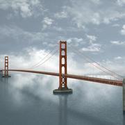 金门大桥低聚 3d model
