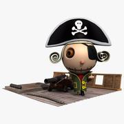 Pirat na łodzi 3d model