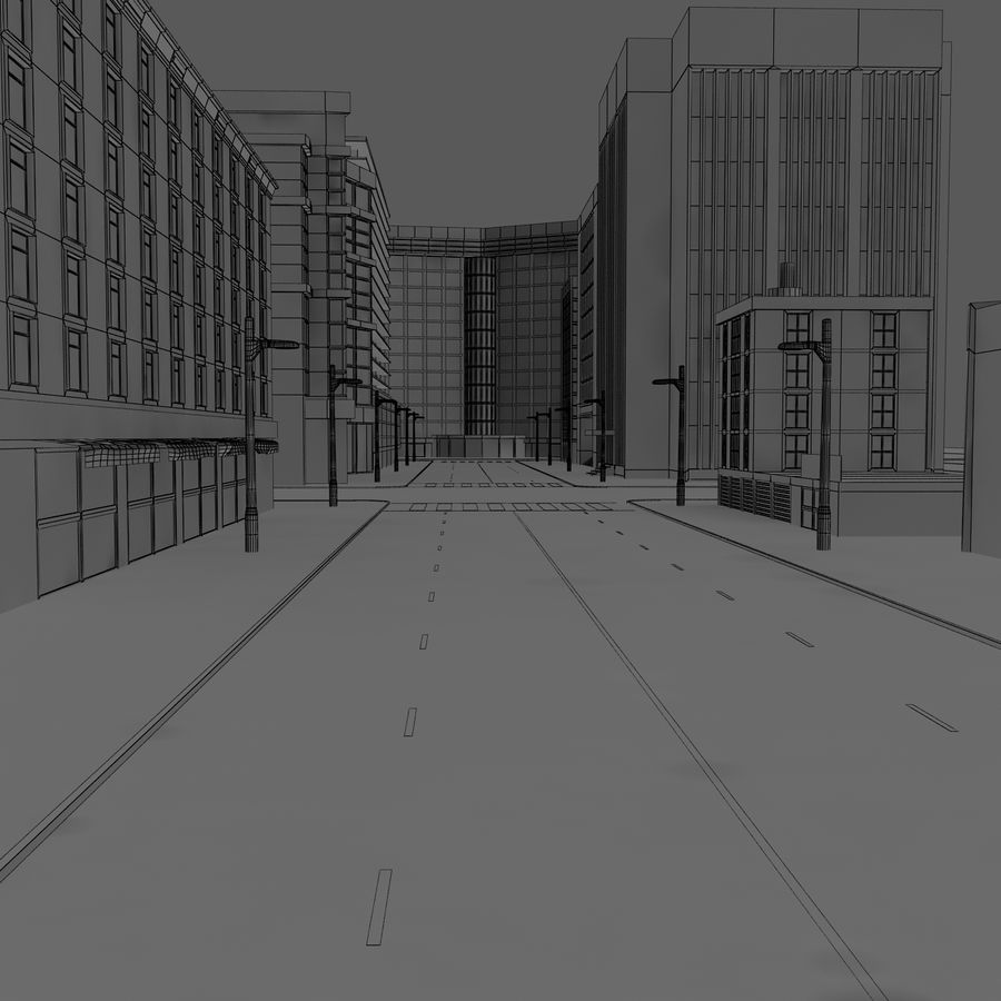 Calle de la ciudad royalty-free modelo 3d - Preview no. 6