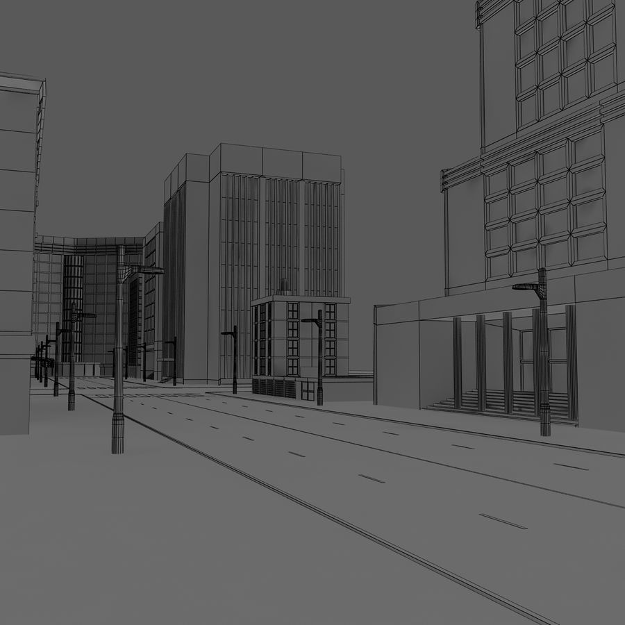 Calle de la ciudad royalty-free modelo 3d - Preview no. 10
