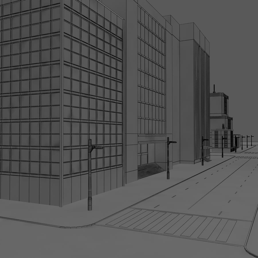 Calle de la ciudad royalty-free modelo 3d - Preview no. 7