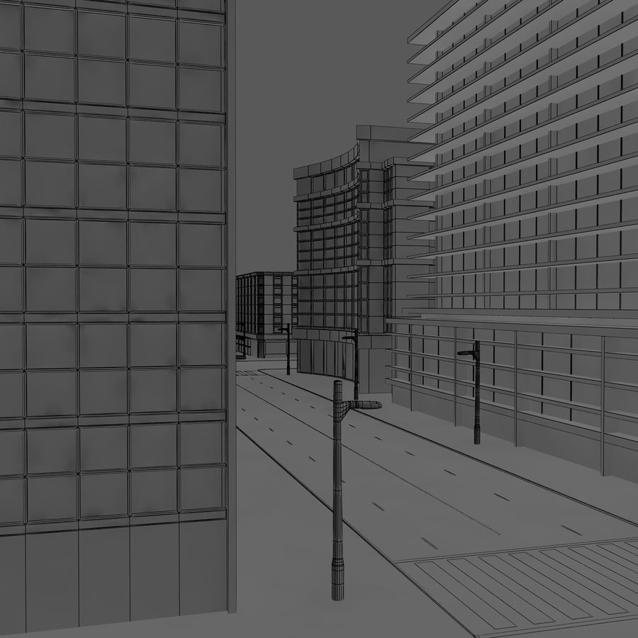 Calle de la ciudad royalty-free modelo 3d - Preview no. 9
