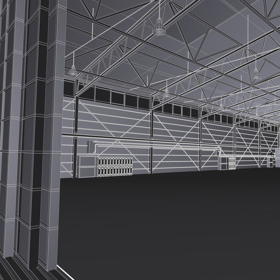 Ангар для самолета royalty-free 3d model - Preview no. 18