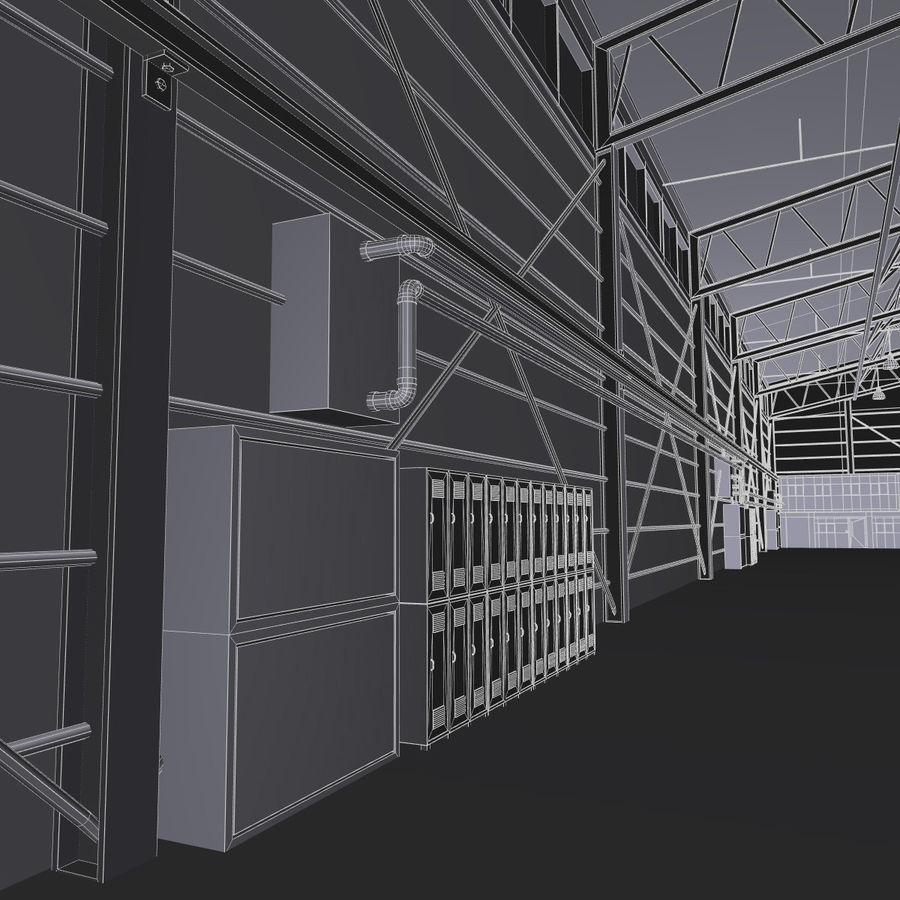 Airplane Hangar royalty-free 3d model - Preview no. 17