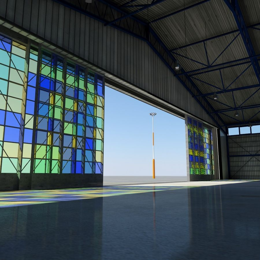 Airplane Hangar royalty-free 3d model - Preview no. 2