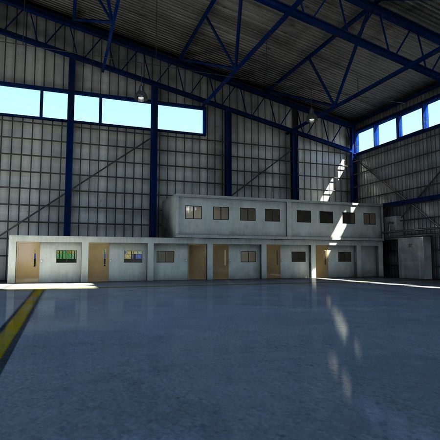 Ангар для самолета royalty-free 3d model - Preview no. 10
