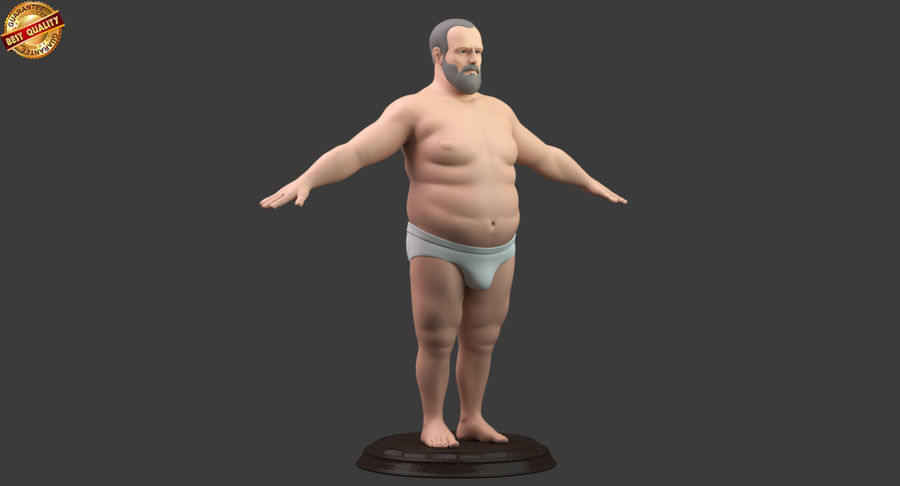 Hefty Aged Man royalty-free 3d model - Preview no. 2