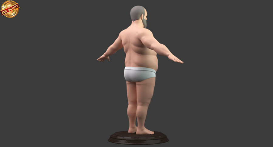 Hefty Aged Man royalty-free 3d model - Preview no. 4