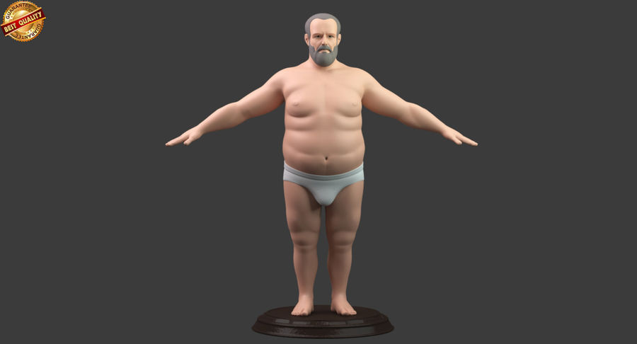 Hefty Aged Man royalty-free 3d model - Preview no. 9