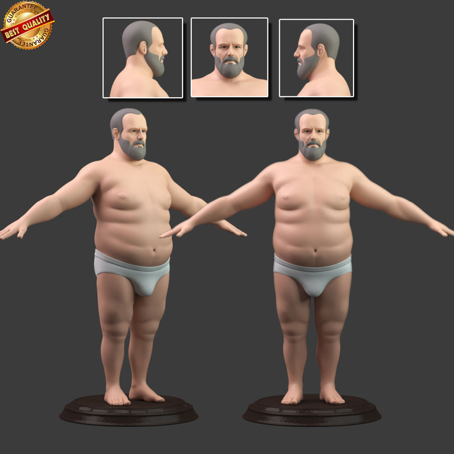 Hefty Aged Man royalty-free 3d model - Preview no. 1