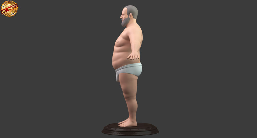Hefty Aged Man royalty-free 3d model - Preview no. 7
