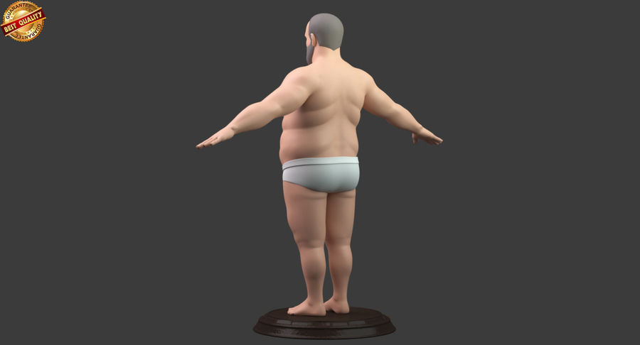 Hefty Aged Man royalty-free 3d model - Preview no. 6