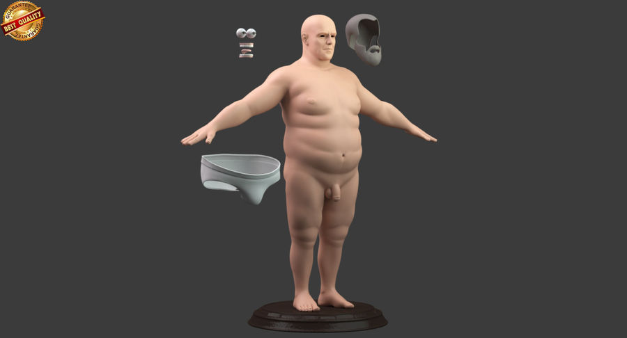 Hefty Aged Man royalty-free 3d model - Preview no. 10