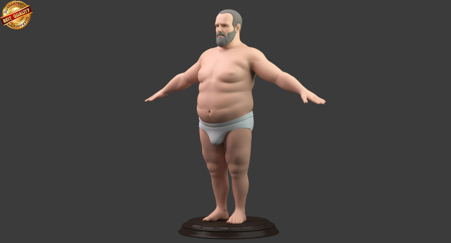 Hefty Aged Man royalty-free 3d model - Preview no. 8