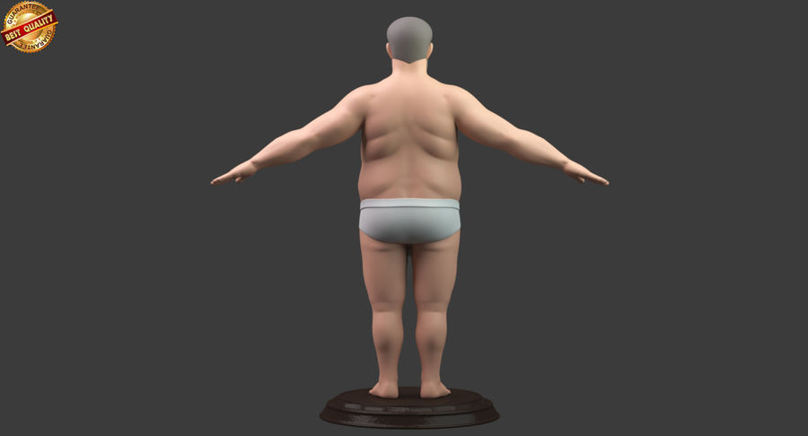 Hefty Aged Man royalty-free 3d model - Preview no. 5